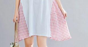 Bohemian red Plaid Cotton clothes Women large hem Vestidos De Lino Summer Dress#...