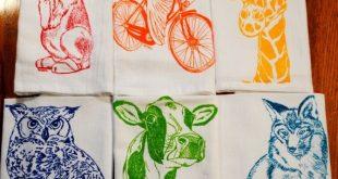 Cloth Dinner Napkins - Screen Printed Cotton Cloth Napkins Set of Six - Washable and Reusable Eco Friendly