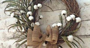 Cotton Boll Wreath, Summer Wreath for Door, Front Door Wreath, Outdoor Wreath, S...