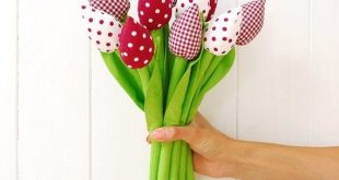 Fabric Flowers Fabric Tulips Wedding Bouquet Cotton Flowers Spring Flowers Bouquet Wedding Flowers B