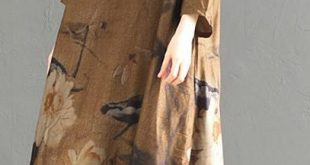 Handmade Cotton clothes Women plus size Print Stand Collar Silk Dress And Wide Leg Pants