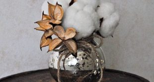 Cotton Boll Bouquet and Mercury Glass Vase by TALLCOTTONnPEAS