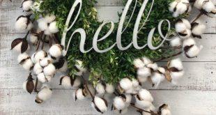 Cotton hello wreath! Love the boxwood and cotton mixture! Farmhouse wreath, Fa...