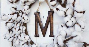 Large Farmhouse Cotton Wreath