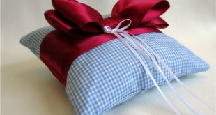 Light Blue and Ruby Red Ring Bearer Pillow / Satin and Cotton Ring Pillow with Bow - Over the Rainbow
