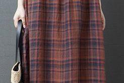 Style o neck cotton clothes Women design khaki plaid cotton Dress sleeveless summer