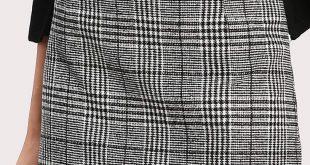 Elegant Plaid Sheath Mid Waist Grey Above Knee/Short Length Wales Check Zip Back Skirt