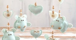Hippo Baby Nursery Mobile, Baby Mobile Hanging, Mint Green Nursery Decor, Mint Baby Mobile, Boy & Girl, Baby Room /2-DAY DELIVERY WORLDWIDE