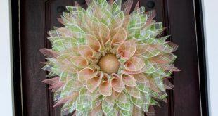 Seasonal wreath, Spring wreath, Plaid wreath, Deco mesh wreath, Coral Wreath, Flower Wreath, Summer