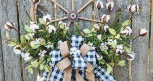 Wagon Wheel Wreath, Cotton Wreath with Burlap Bow, Farmhouse Wreath, Everyday Wreath, Year round Wreath, Neutral Wreath, Buffalo Plaid