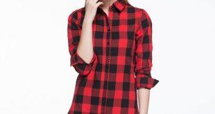 Women Long Shirts Single Breasted Plaid Cotton Wild Casual Streetwear Shirt Plus Size Blouse