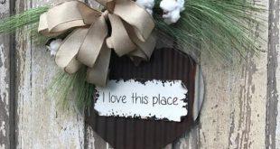 I love this place sign Door HangerFront door swag Cotton wreath Wreath for front...