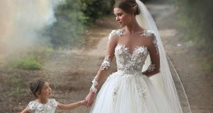 2015 Cinderella Flower Girls Dresses Special Occasion Kids Lace First Communion Gowns White Mother And Daughter Matching Wedding Dresses