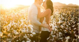 Cotton Field Engagement Photos at Sunset in Coolidge, Arizona.