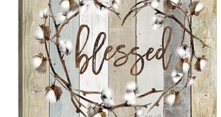 """GreatBigCanvas """"Blessed Cotton Wreath"""" by Marla Rae Canvas Wall Art 2523137_24_16x16"""