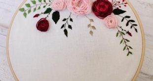 Hand embroidery, Pink and burgundy flowers, Add your text, Embroidery hoop, Embroidery flowers, Unique Wall decor, Home decor, Mothers day
