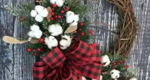 I love this cotton Christmas Wreath! The buffalo plaid is perfect for all Winter...