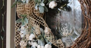 Large Year round Cotton wreath for Front door, Farmhouse Style Cotton wreath, Front door wreath, Rus