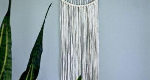 "Macrame Dream Catcher Wall Hanging - White or Black Rope 10"" Brass Hoop - Sunburst - Boho Home, Nursery, Wedding, Dorm Decor"