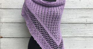 Summer Crochet Shawl Wrap, Cotton Violet Purple Lace Knit Triangle Scarf, Wedding Bridal Shoulder Cover Spring Russian Stole