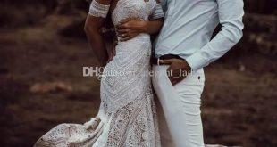 Vintage Crochet Lace Mermaid Wedding Dresses 2019 Off Shoulder Cotton Applique Trumpet Beach Bohemian Country Bridal Gowns