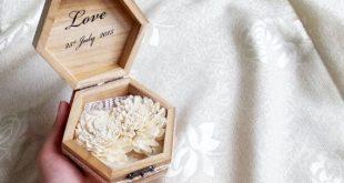 Wedding rings box wedding pillow rustic cotton by MKedraWedding