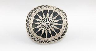 crochet lace stone, beach wedding, river rock, sea anemone, fiber art object, cream thread, country