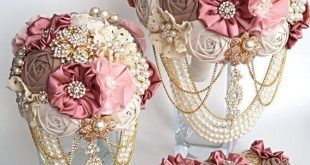 Brooch Bouquet Vintage Rustic Bouquet Fabric Bouquet Unique Wedding Bridal Bouqu...