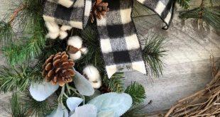 White Buffalo Plaid Christmas Wreath for Front Door, Cotton Boll Wreath, Rustic Farmhouse Christmas Wreath, Fixer Upper Christmas Wreath