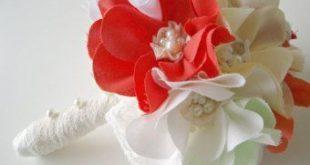 Petite fabric bridal bouquet Weddings Cotton bouquet Magnolias Custom fabric 20 ...