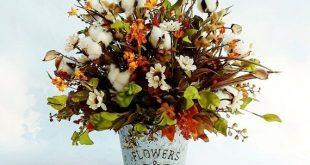 Farmhouse Flowers Farmhouse Decor Flower Arrangements Cotton Decor Rustic Flower Arrangement Cotton Arrangements Galvanized Decor