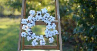 Small Cotton Wreath 12 Cotton Wreath Cotton Boll Wreath Faux Cotton Wreath Farmh...