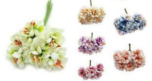 6pcs cotton cloth Handmake Stamen Artificial Flowers Bouquet for Wedding De L3D8...