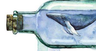 "Aquarell Malerei, Walmalerei, Walkunst, Wal in Bottle, Bottle Art, Whale Print, Beach Decor, Nautical, Print mit dem Titel ""Sea Glass"""