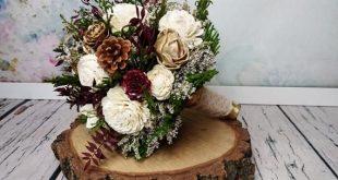 BIG ivory burgundy wine gold green rustic elegant autumn fall winter woodland wedding BOUQUET sola f