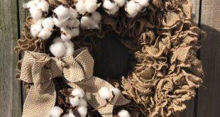 Burlap wreath, Farmhouse wreath for front door, cotton wreath, front door wreath, rustic wreath, fro