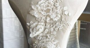 Cotton Beads Peony Floral Embroidery Lace Applique Motif Materials Flower Lace Patch on Bridal Wedding Dress Dress Skirt 1 Piece