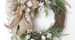 Cotton Boll Wreath, Southern Wreath, Floral Wreath, Farmhouse Wreath, Grapevine Wreath, Cotton Wreath, Everyday Floral Wreath, Rustic Wreath