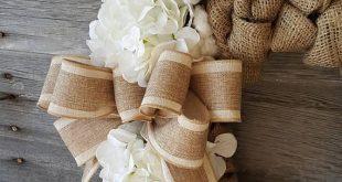 Cotton Wreath, Burlap Wreath, Hydrangea Wreath, Burlap Cotton Wreath, Spring Wreath, Easter Wreath,