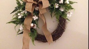 Cotton Wreath Wreath Great for All Year Round Everyday   Etsy 2019 Cotton Wrea...
