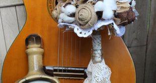 Cotton and burlap bridal bouquet burlap and lace wedding bouquet cotton bouquet ...