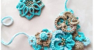 Crochet beads Necklace Natural cotton decoration for women knitted accessories fashion style knitted brooch crocheted
