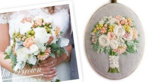 Display your wedding bouquet in unique fashion with this custom embroidered pend...