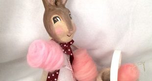 Easter bunny tree topper and pink cotton candy ornaments with easter basket vintage inspired cotton tail rabbit decor centerpiece