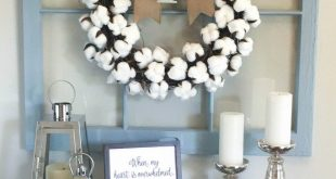 Easy, DIY Cotton Wreath For Less Than $10