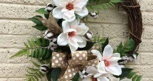 Farmhouse Decor, Farmhouse Magnolia Wreath,Magnolia Wreath,Magnolia Wreath Front...