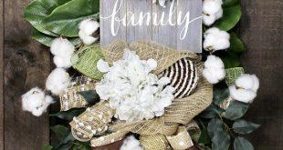 Farmhouse Wreath Cotton Wreath Deco Mesh Wreaths for Front Door Deco Mesh Swag C...