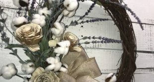 Farmhouse Wreath Lavender and Cotton Bolls Rustic Wreath Everyday Wreath Decorative Wreath Cotton Bolls Wreath Farmhouse Decor Rustic Decor Wall Wreath Interior Farmhouse Wreath Front Door Wreath