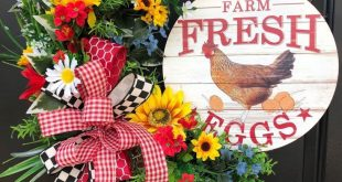 Farmhouse Wreath- Wreath For Front Door- Wreath With Hen Everyday Wreath- Far ...
