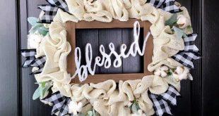 Farmhouse Wreaths, Cotton Wreaths, Year Round Wreath, Buffalo Check Wreath, Rustic Decor, Blessed Sign, Farmhouse Decor, Burlap Wreath, CUTE